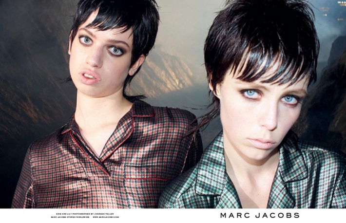 """""""Juergen Teller lensed the pair with Campbell playing the role of aloof elegance while McMenamy shows off some rather interesting facial expressions.""""  Marc Jacobs Fall 2013 ADS With Edie Campbell & Lily McMenamy 19"""
