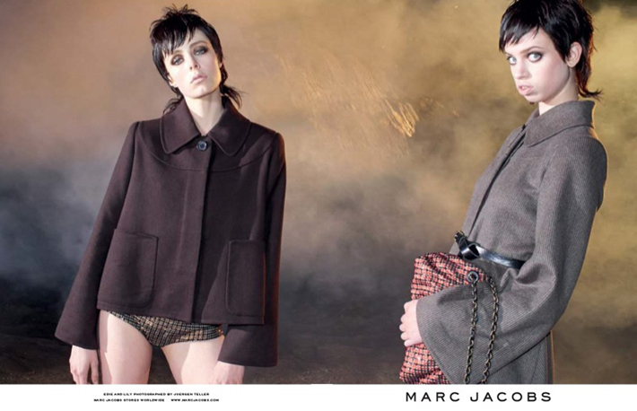 """""""Juergen Teller lensed the pair with Campbell playing the role of aloof elegance while McMenamy shows off some rather interesting facial expressions.""""  Marc Jacobs Fall 2013 ADS With Edie Campbell & Lily McMenamy 47"""
