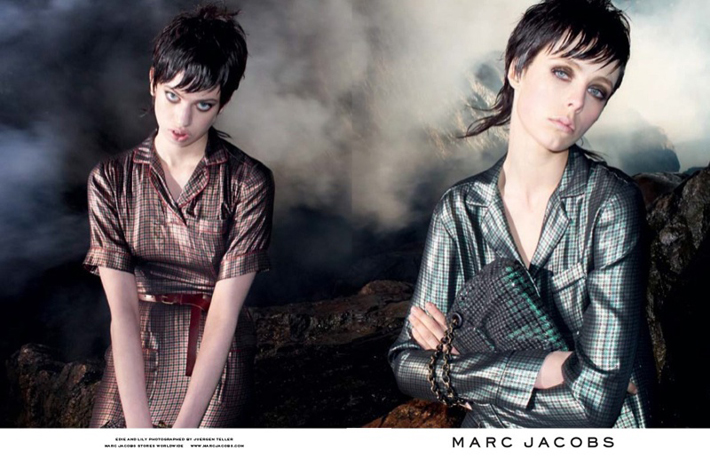 """""""Juergen Teller lensed the pair with Campbell playing the role of aloof elegance while McMenamy shows off some rather interesting facial expressions.""""  Marc Jacobs Fall 2013 ADS With Edie Campbell & Lily McMenamy 56"""