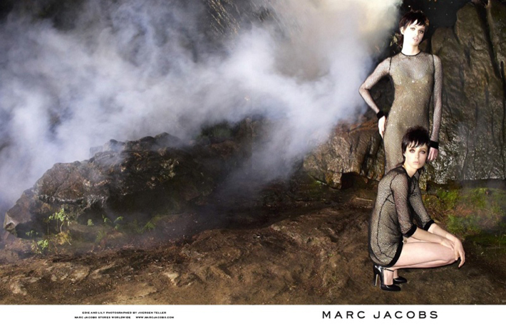 """""""Juergen Teller lensed the pair with Campbell playing the role of aloof elegance while McMenamy shows off some rather interesting facial expressions.""""  Marc Jacobs Fall 2013 ADS With Edie Campbell & Lily McMenamy 63"""