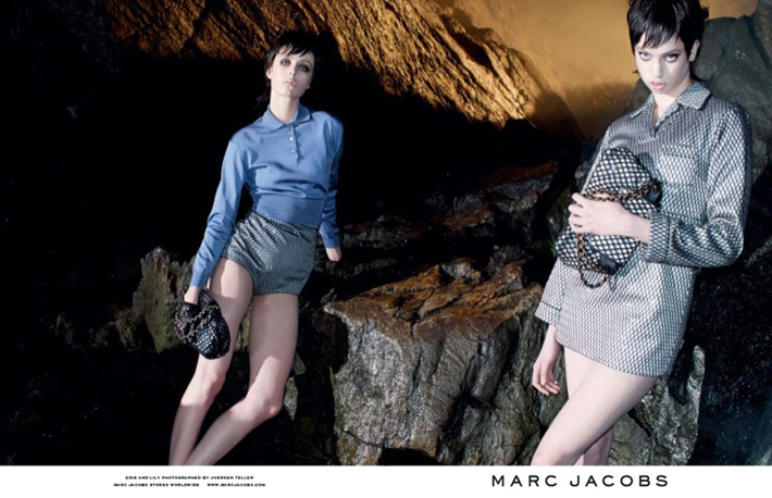 """""""Juergen Teller lensed the pair with Campbell playing the role of aloof elegance while McMenamy shows off some rather interesting facial expressions.""""  Marc Jacobs Fall 2013 ADS With Edie Campbell & Lily McMenamy 73"""