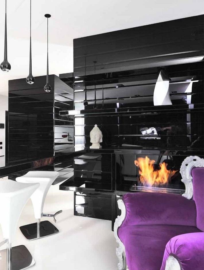 black-and-purple-interiors  Interior Design Color Schemes: In Love With black  black and purple interiors