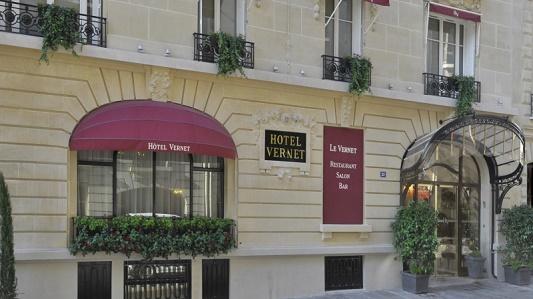 """""""François Champsaur restyles the Hôtel Vernet in Paris""""  François Champsaur restyles the Hôtel Vernet in Paris Hotel Vernet Paris Facade View"""