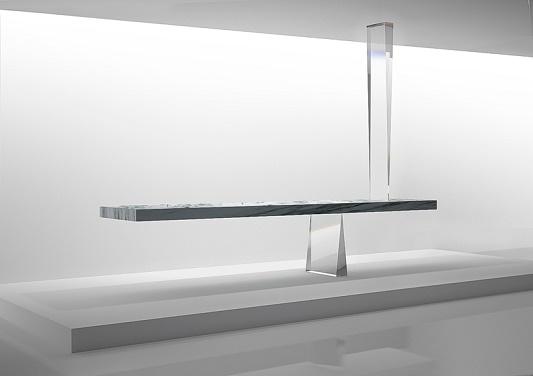 """defying gravity: the agravic stone table""  Defying gravity: the agravic stone table by Tokujin Yoshioka tokujin prism designboom02"