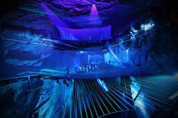 Get radical: the world's craziest trampoline  Get radical: The world's craziest trampoline welsh mining cavern hides the world largest underground trampoline designboom 01
