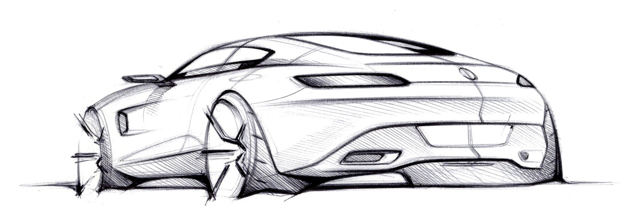 Mercedes-AMG GT (C 190) 2014  New Mercedes-Benz AMG GT  Mercedes AMG GT official sketch rear three quarters
