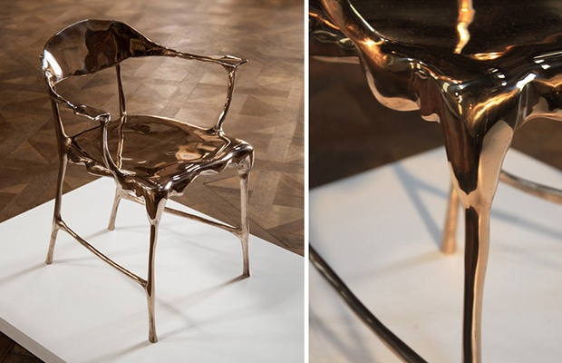 Chair and detail of the bronze leg Tjep. designs melted bronze furniture in  opposition to