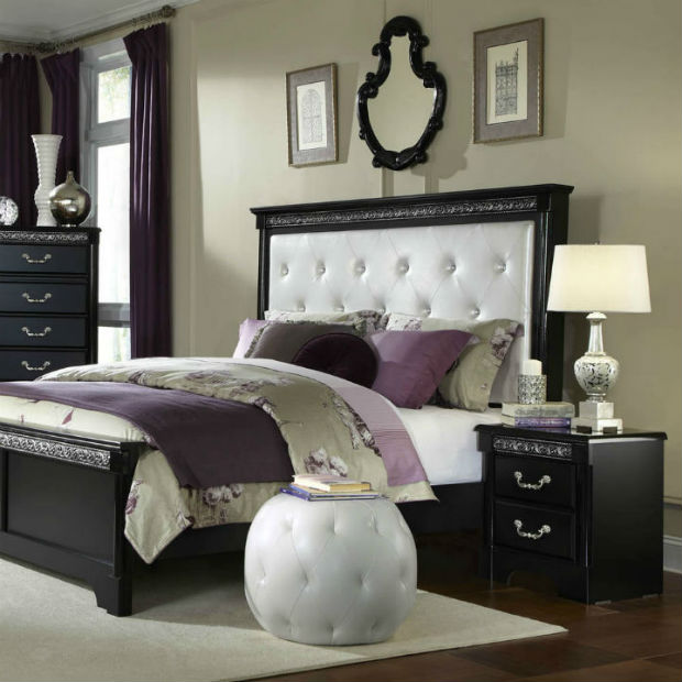 Standard-Furniture-Venetian-Black-2-Piece-Panel-Bedroom-Set-w ...