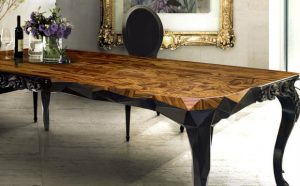 glamorous wood dining table