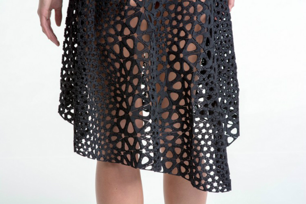 A detailed view of the intricate pieces which compose this unique dress