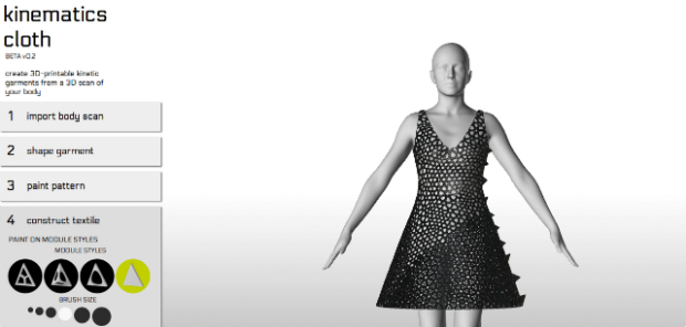The Kinematic Cloth App allows users to design their own dress.