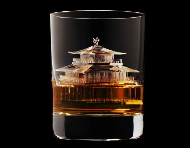 Suntory presents the most amazing whiskey glasses  Suntory presents the most amazing whiskey glasses CNC milled ice cubes japanese brewing suntory designboom 03