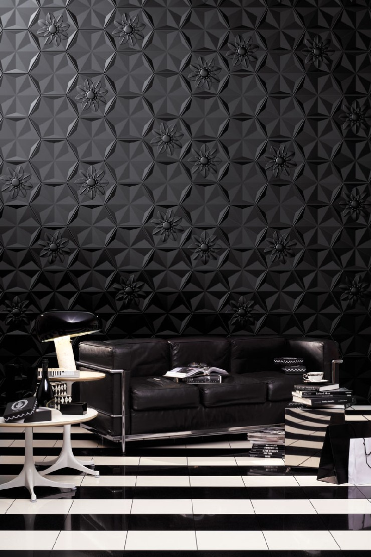 Best interior design projects by marcel wanders for Black wallpaper living room