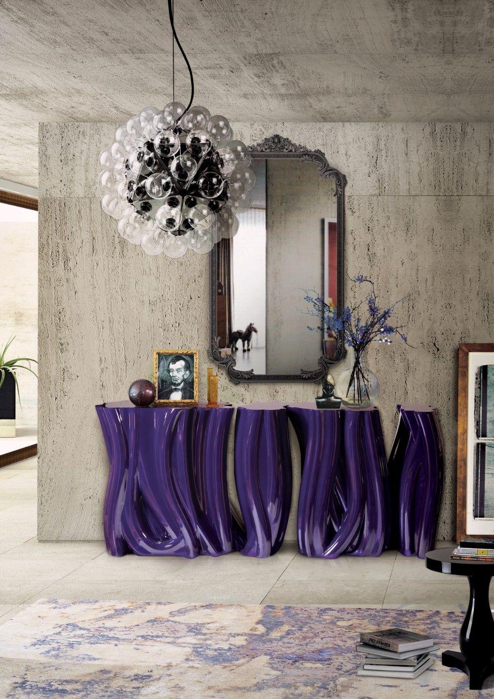 wall mirror 20 Exquisite Wall Mirror Designs for Your Living Room monochrome