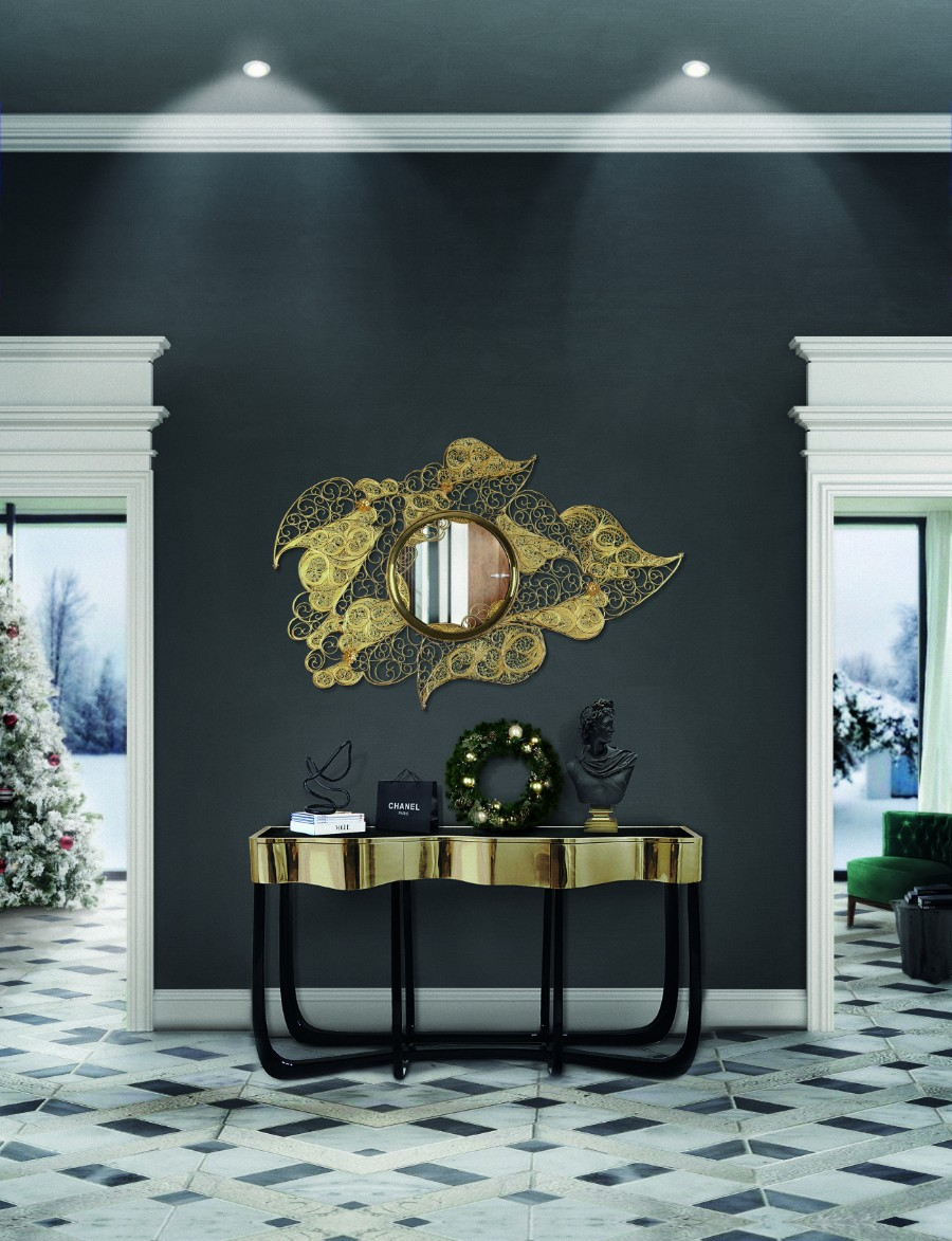 christmas decoration ideas Get Inspired by Golden Luxury Christmas Decoration Ideas BL FILIGREE ENTRYWAY natal