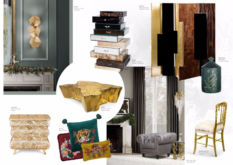 christmas decoration ideas Get Inspired by Golden Luxury Christmas Decoration Ideas Moodboard CHristmas Green
