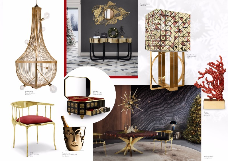 christmas decoration ideas Get Inspired by Golden Luxury Christmas Decoration Ideas Moodboard CHristmas Red and Gold