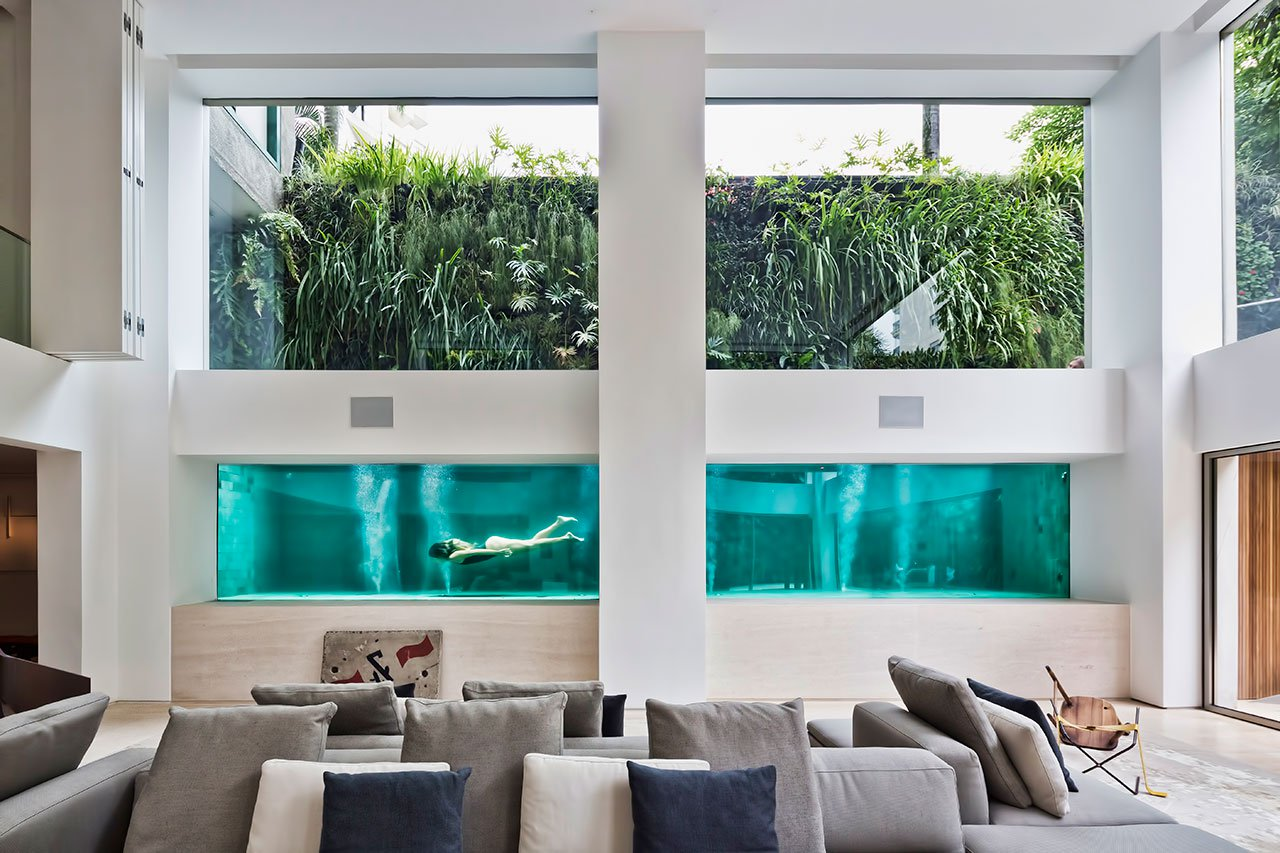 luxury apartment, art collection, swimming pool, artwork, luxury furniture, modernist interiors, mid-century designers, art installation, Ernesto Neto, Zerbini, luxury apartment Luxury Apartments: Art Collector's Residence in São Paulo   Luxury Apartments An Art Collectors Residence in S  o Paulo 4
