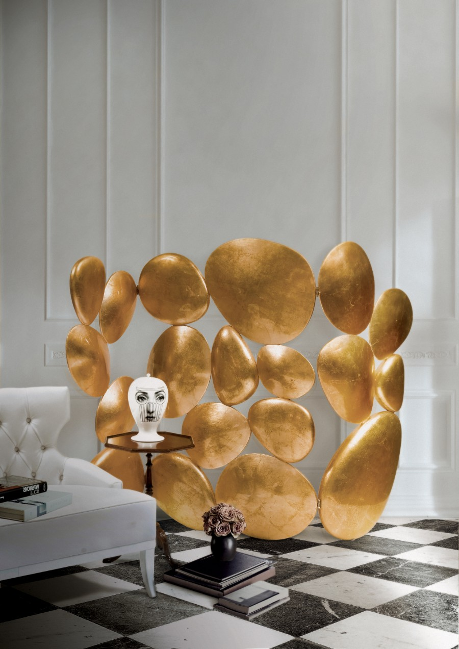 Luxury Furniture The Art of Leaf Gilding Behind Boca do Lobo's Luxury Furniture GOLD FOLDING SCREEN by boca do lobo