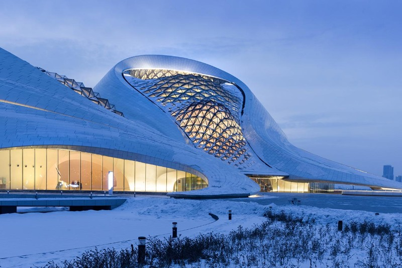 Harbin Opera House, MAD Architects, landmark, architectural building, white aluminum, glass wall, architecture, architectural design Harbin Opera House The Sculptural Design of the Harbin Opera House by MAD Architects  The Sculptural Design of the Harbin Opera House by MAD Architects 9
