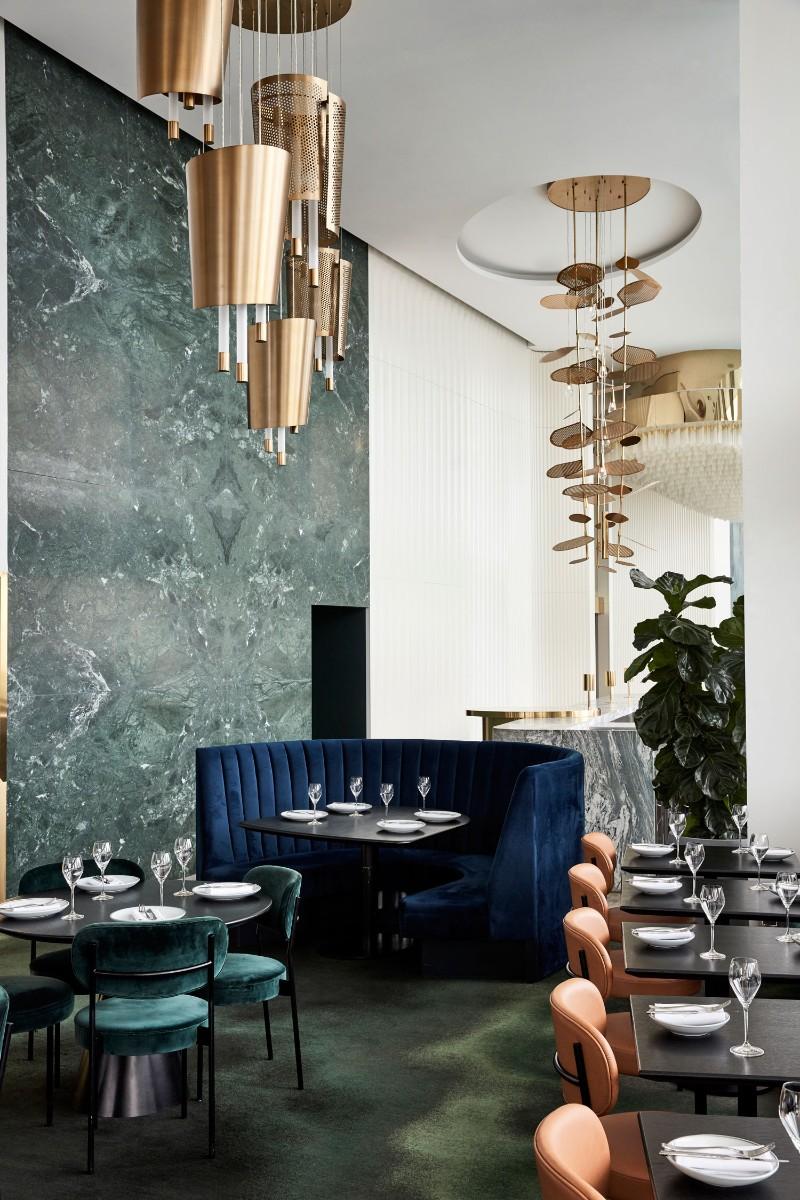 Australia's New Rooftop Restaurant mim design Mim Design Creates A Blue and Gold Aesthetic In New Rooftop Restaurant Australias New Rooftop Restaurant 7