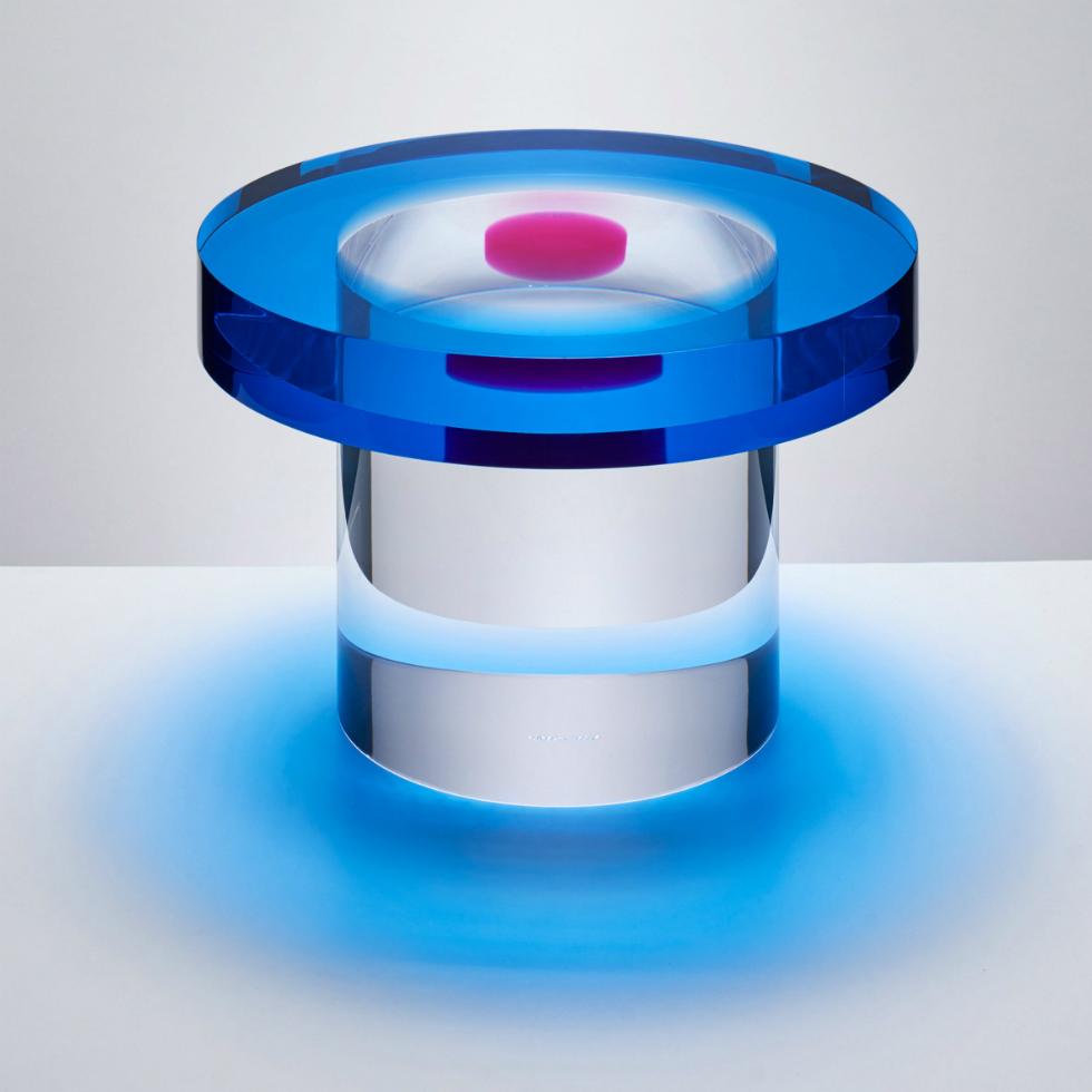 "candy-coloured resin Candy-coloured resin tables that ""challenge visual perception"" 80 3"